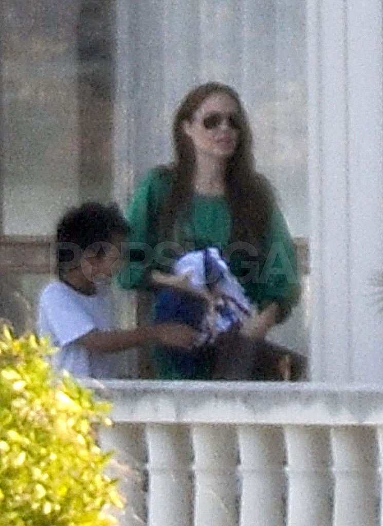 Angelina Jolie in Scotland with Maddox.