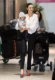 Miranda and Flynn walked through Melbourne's airport.