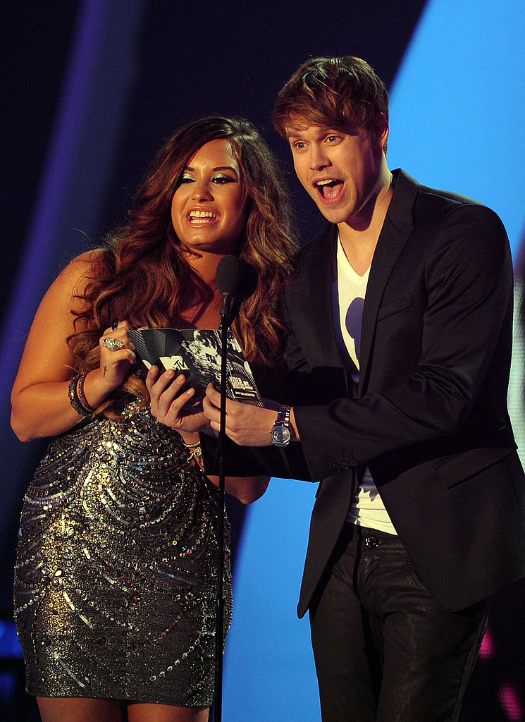 Demi Lovato and Chord Overstreet at the 2011 MTV VMAs.