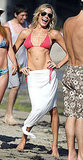 LeAnn Rimes wore a red crochet bikini on the beach in Malibu in August 2012.