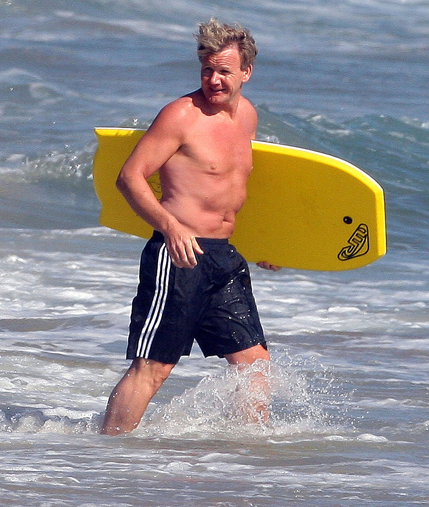 Gordon Ramsay stepped into the water shirtless.