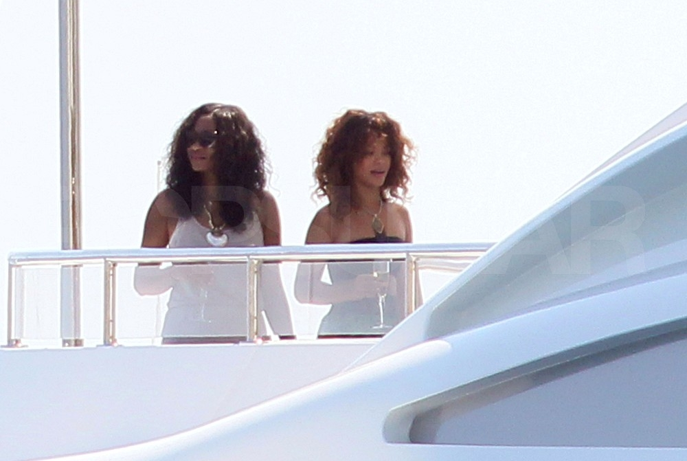 Rihanna sipped champagne with girlfriends.