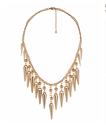 The shiny gold spikes on this feel simultaneously edgy and refined.   Forever 21 Spike Statement Necklace ($7)