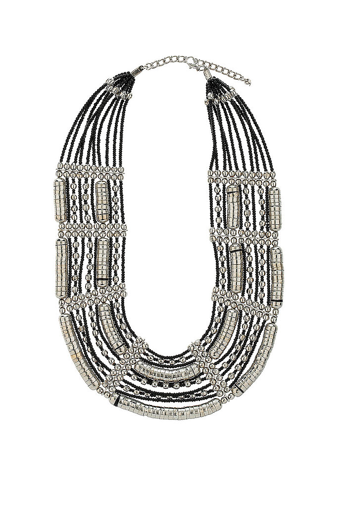 Beautifully ornate — the perfect piece to jazz up that plain white t-shirt.   Topshop Bead and Caps Collar Necklace ($50)