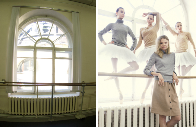 """Many of the dance studios we scouted were basic and dark. When we found these windows, I knew we had to take advantage of the milky (and ever forgiving) backlight."""