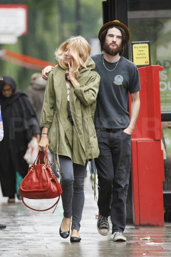 Tom Sturridge gave Sienna Miller a sweet hug.