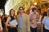 Romy Mars hitched a ride on dad's shoulders as Sofia Coppola and Roman Coppola took a picture.