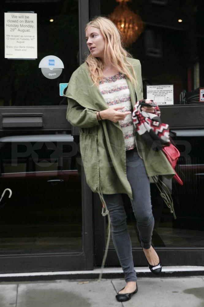 Sienna Miller left a restaurant in London.