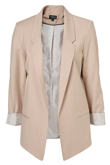 Contrast a pair pf black trousers with this oyster hued blazer and a button-up blouse. Topshop Oyster Blazer ($130)