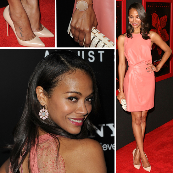Zoe Saldana Wears Pink Valentino Dress to Colombiana Premiere: See it From All Angles!