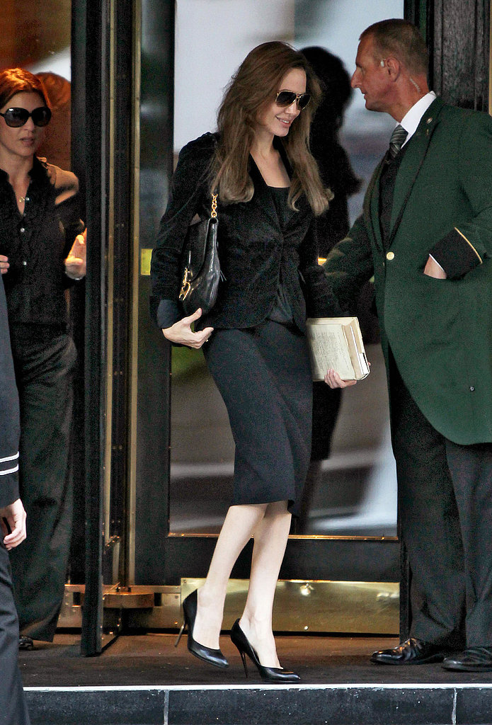 Angelina Jolie in all black in London.