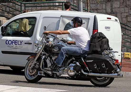George Clooney took his bike for a spin around town.