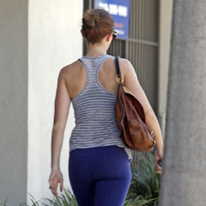 Celebrity in Purple Capris Leaving West Hollywood Gym
