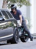 Ryan Reynolds leaves Sandra Bullock's house.
