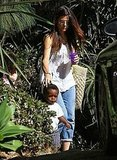 Sandra Bullock with a walking Louis Bullock.