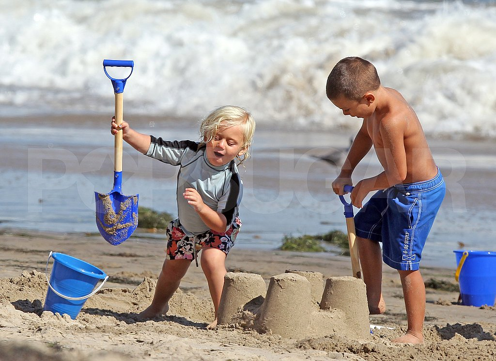 Zuma and Kingston Rossdale in Malibu.