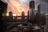 A beautiful sunset fills the sky over the World Trade Center site following the hurricane hitting NYC.
