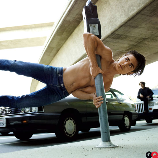 Zac Efron posed for the May 2009 issue of GQ sans shirt.