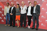 Paul Giamatti, Marisa Tomei, George Clooney, Evan Rachel Wood, Philip Seymour Hoffman, and Grant Heslov at the Venice Film Festival.