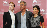 Marisa Tomei, George Clooney, and Evan Rachel Wood promote The Ides of March at the Venice Film Festival.