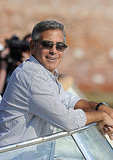 George Clooney arrives by boat to the Venice Film Festival.