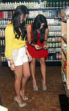 Kim Kardashian and Kourtney Kardashian filming Kourtney and Kim Take NY at a health food store.