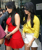 Kim Kardashian and Kourtney Kardashian shopping.