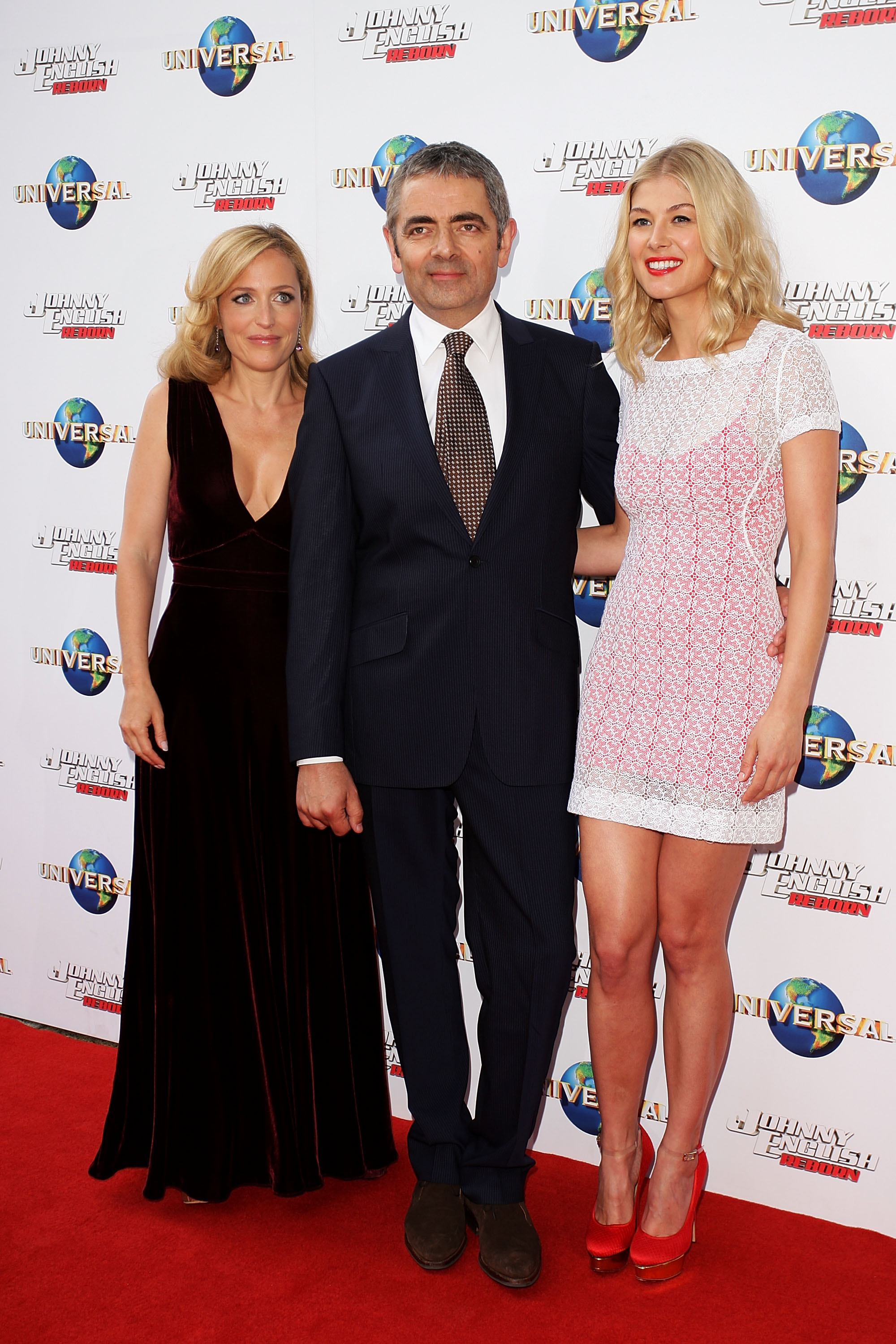 Gillian Anderson, Rowan Atkinson and Rosamund Pike