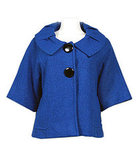 Portrait Collar Wool-Blend Jacket in Blue