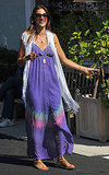 Alessandra Ambrosio in a tie-dye maxi dress.