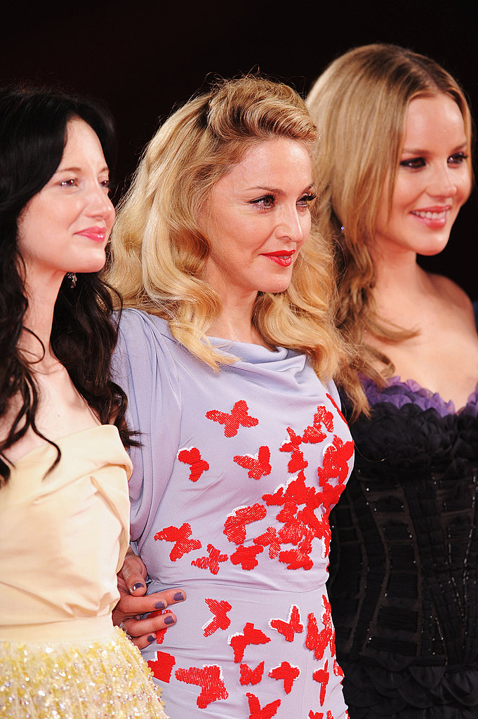 Madonna posed with Abbie Cornish and Andrea Riseborough at the premiere of their film W.E.