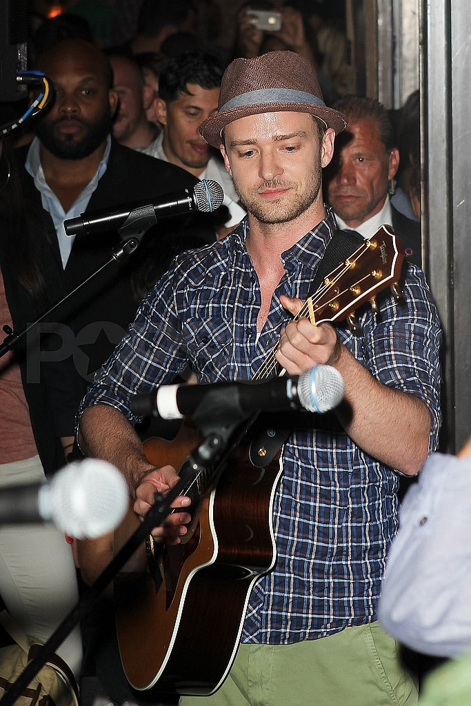Justin Timberlake plays the guitar at Southern Hospitality.