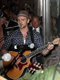 Justin Timberlake on his guitar.