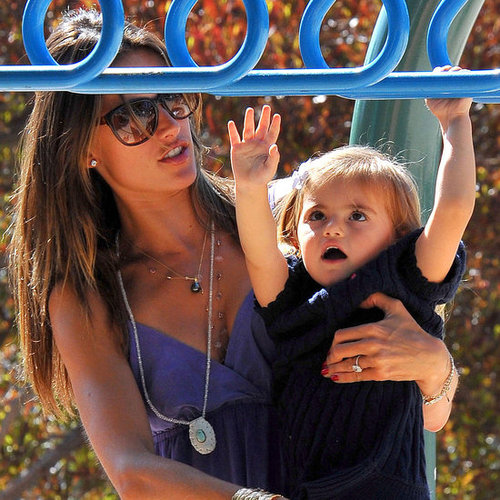 Alessandra Ambrosio at a Park With Anja Pictures