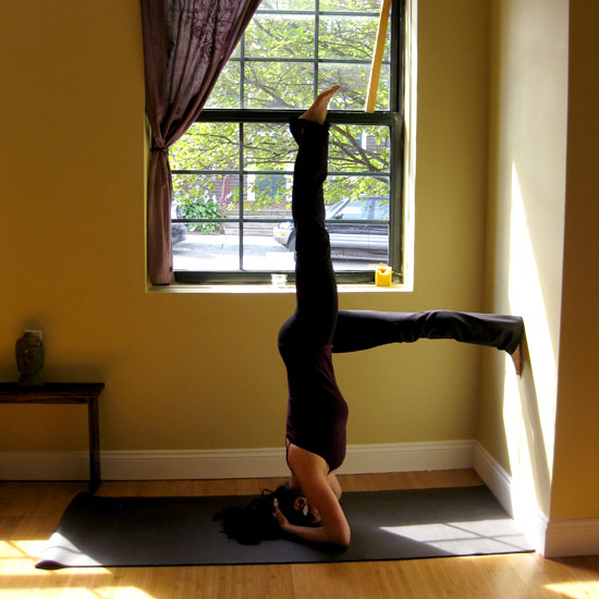 One-Legged Bound Headstand Against a Wall
