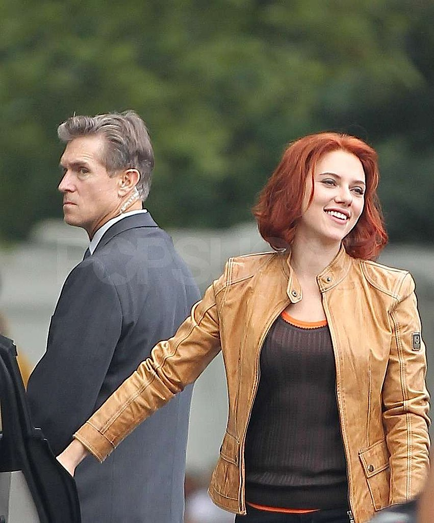 Scarlett Johansson donned a leather jacket at work.