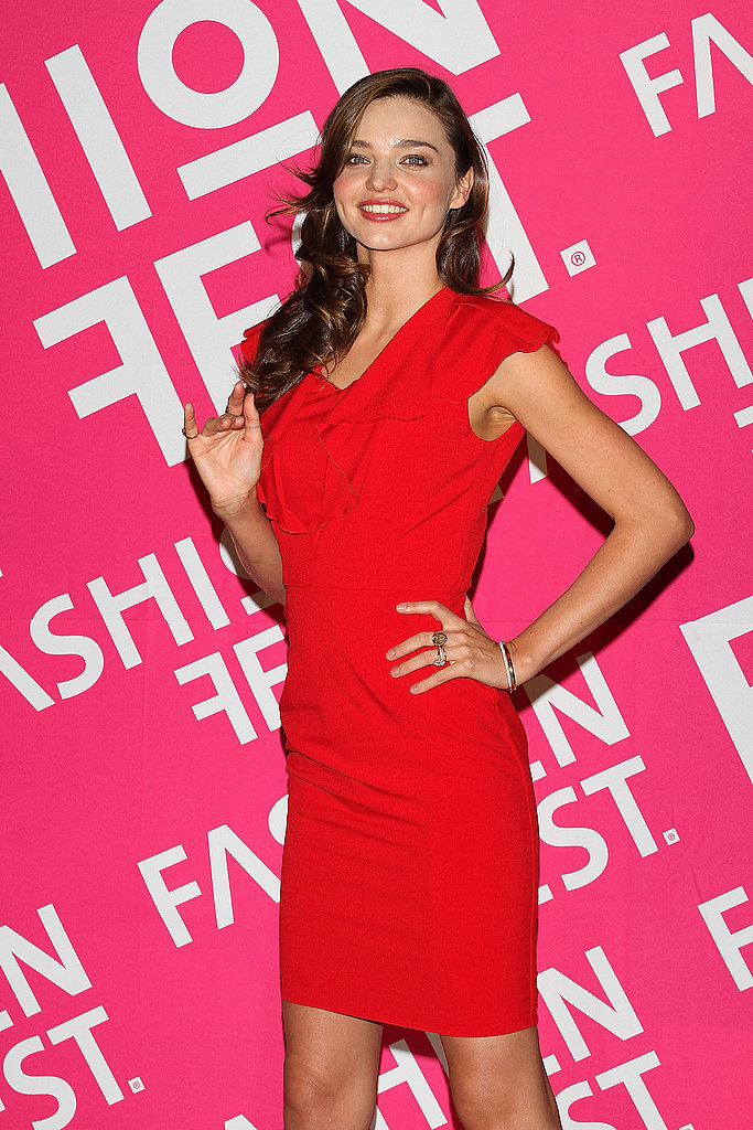 Miranda Kerr in red at Liverpool Fashion Fest.