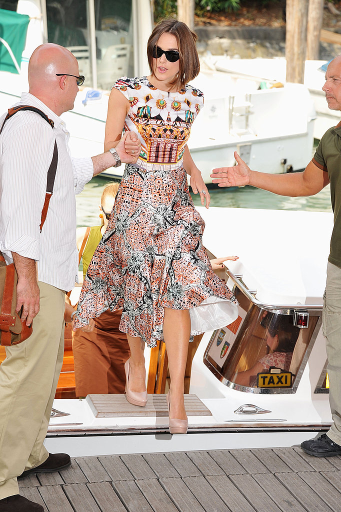 Keira Knightley hits the Venice Film Festival wearing Mary Katrantzou.