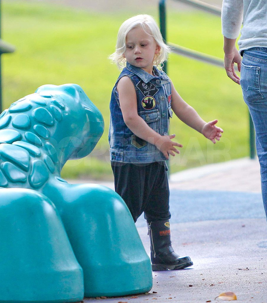 Zuma Rossdale plays at a park in LA.