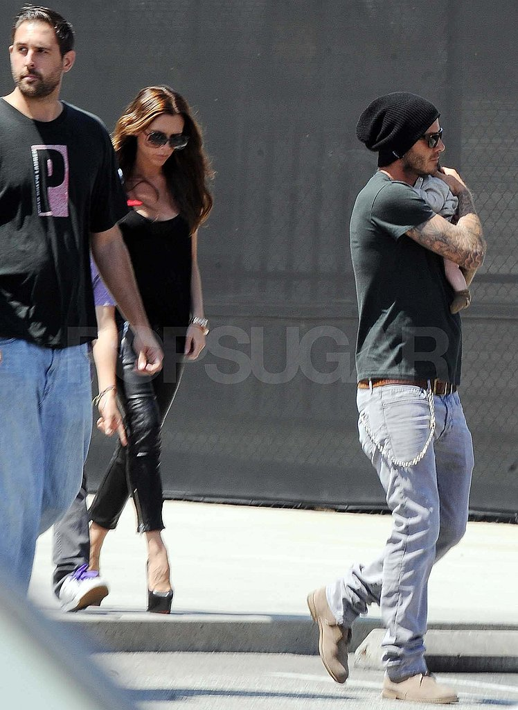 David and Victoria Beckham out with Harper and Brooklyn.