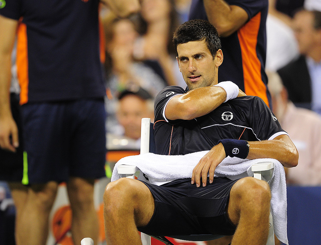 Serbia's Novak Djokovic massages his shoulder during a match on last Thursday.