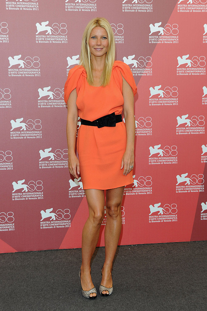 Gwyneth Paltrow wears Prada to a Contagion photo call in Venice.