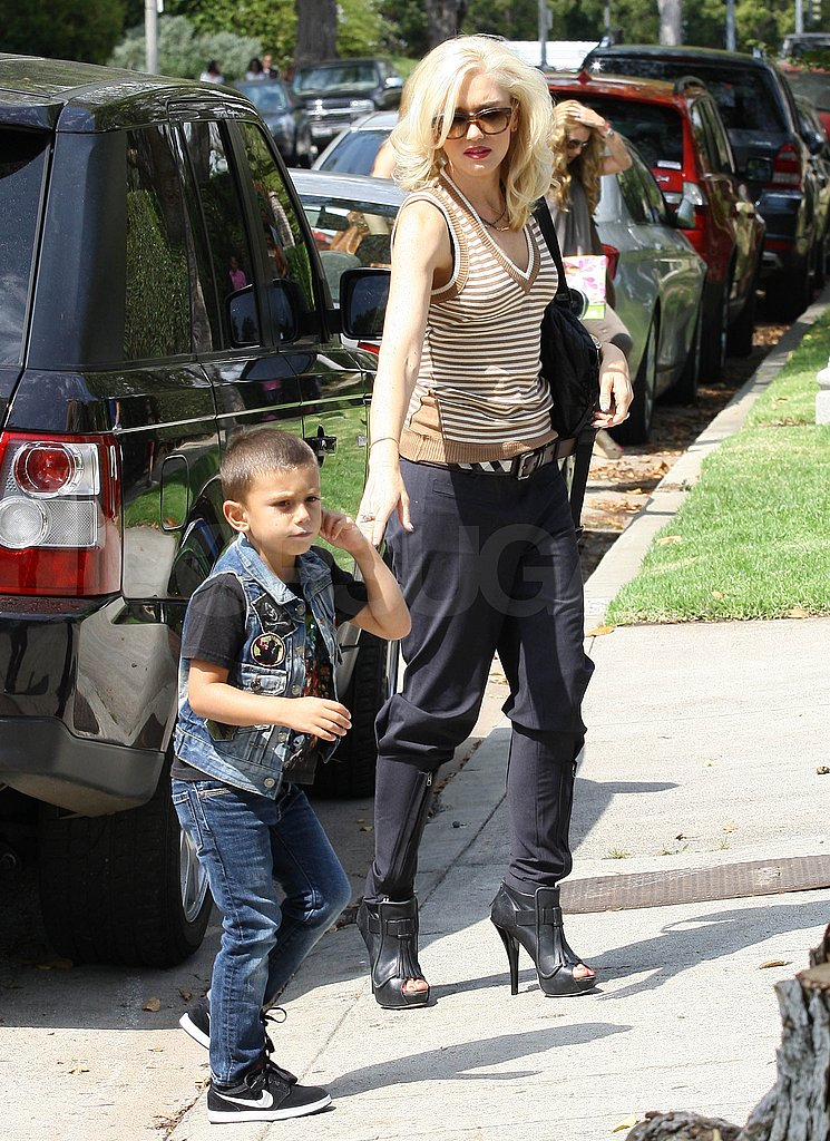 Gwen Stefani takes son Kingston to a party.