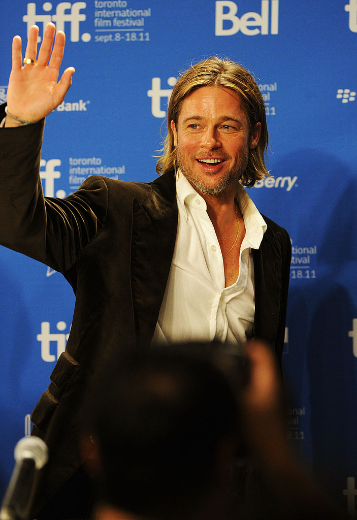 Brad Pitt waved to the press.