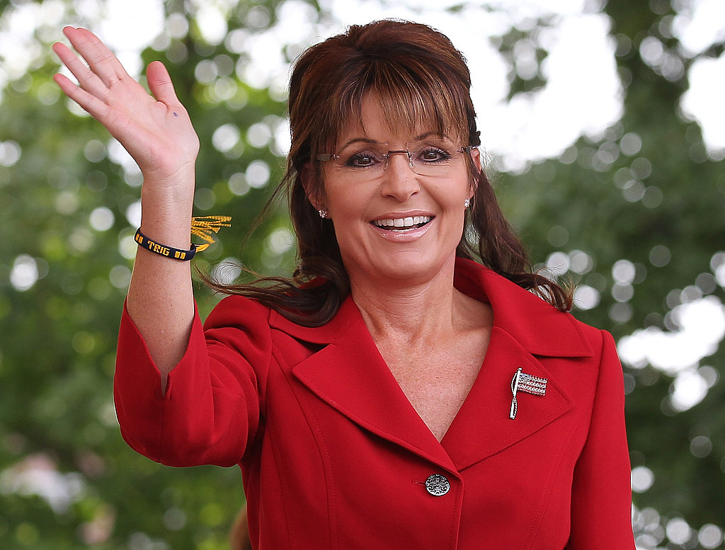 Sarah Palin waves to supporters.