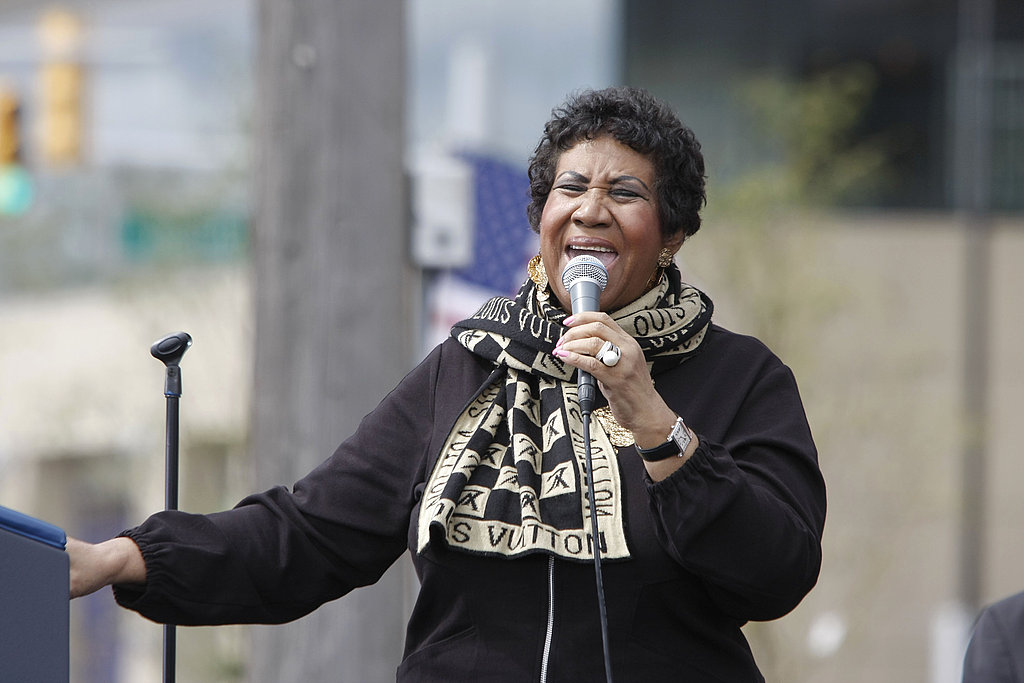Aretha Franklin performs at Obama's Labor Day rally.