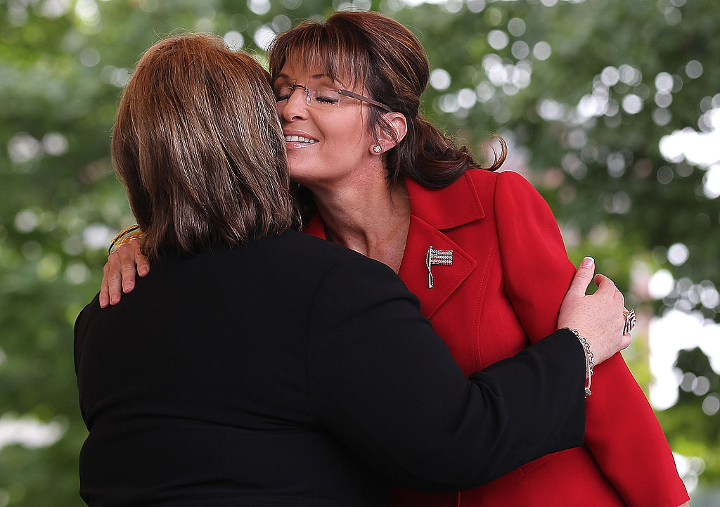 Sarah Palin hugs a fan.