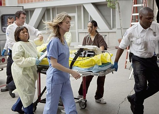 Chandra Wilson as Dr. Miranda Bailey and Ellen Pompeo as Dr. Meredith Grey on Grey's Anatomy. Photo copyright 2011 ABC, Inc.