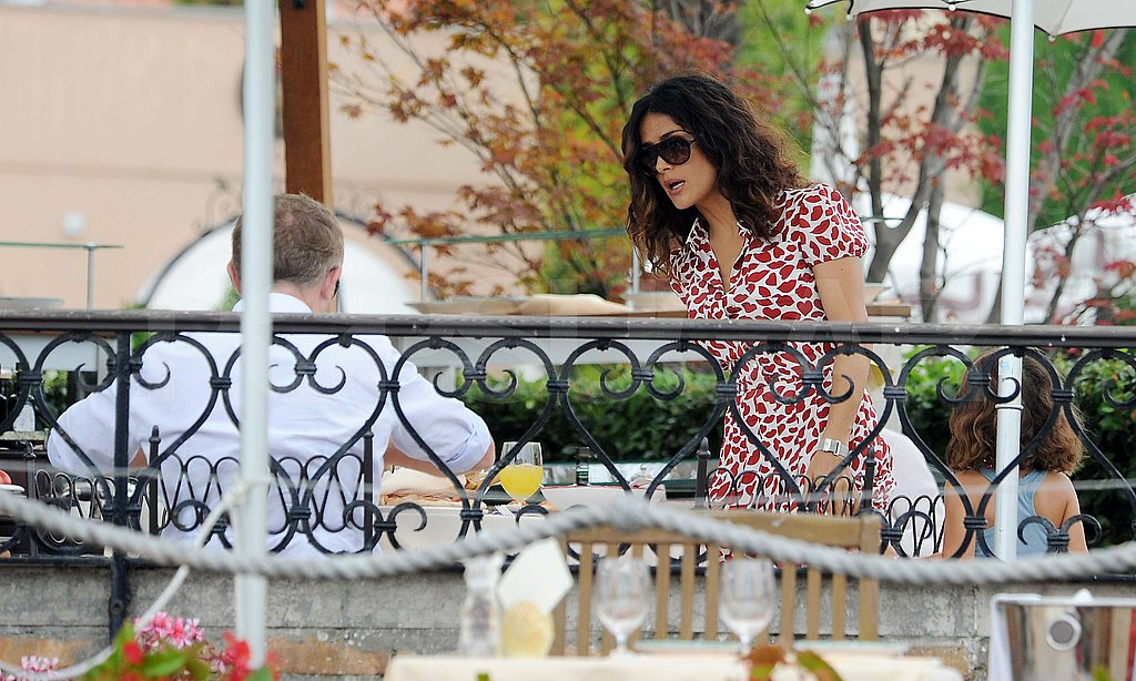 Salma Hayek and François-Henri Pinault at brunch with Valentina in Venice.