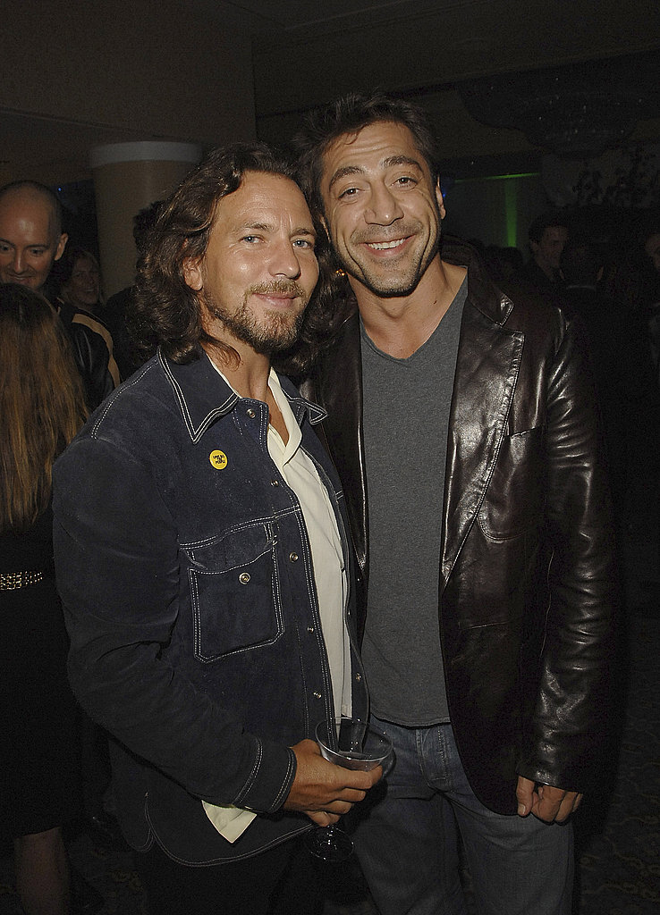 Eddie Vedder and Javier Bardem hung out during 2007's Into the Wild afterparty.